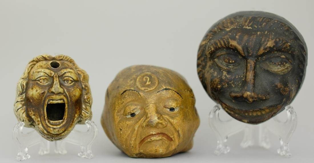 Three Busts (One an Inkwell)