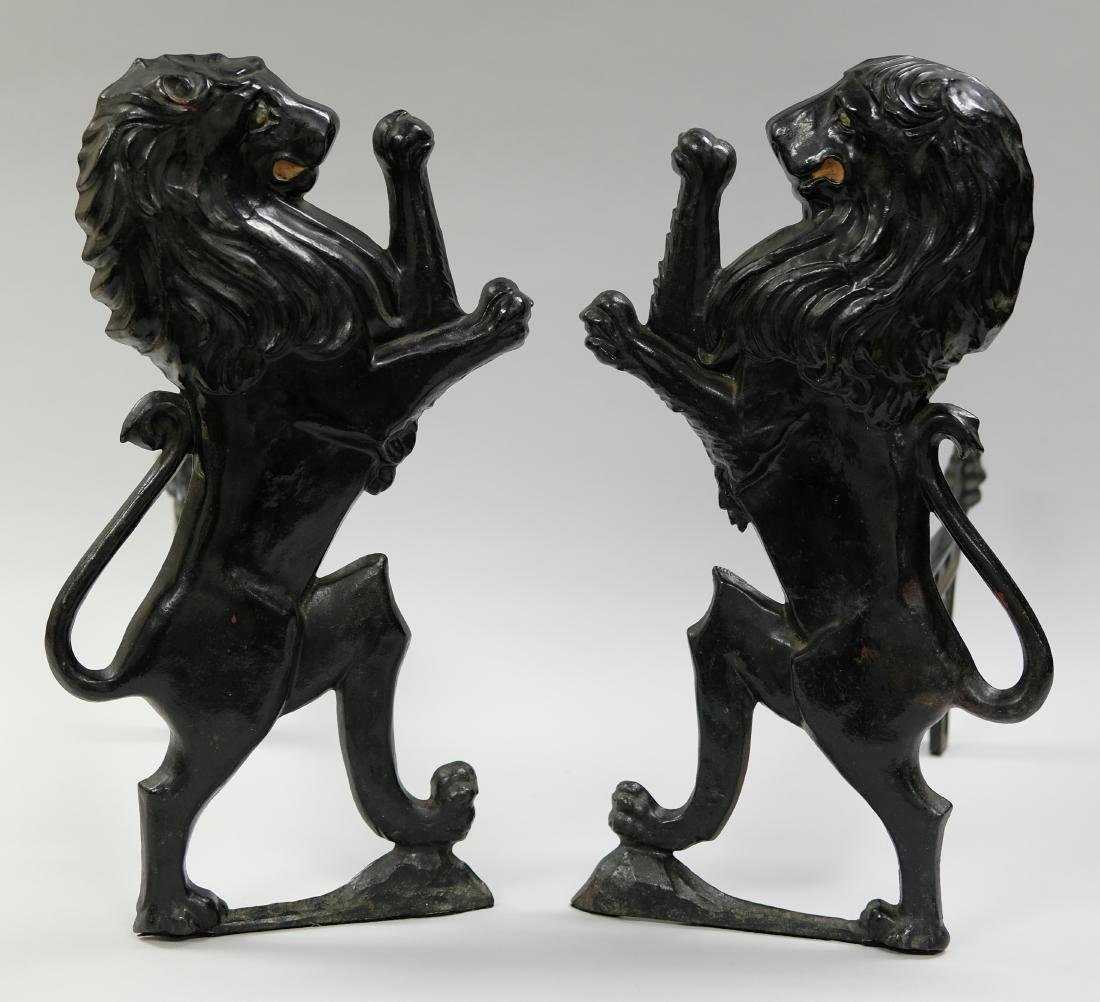 Rearing Lion Andirons