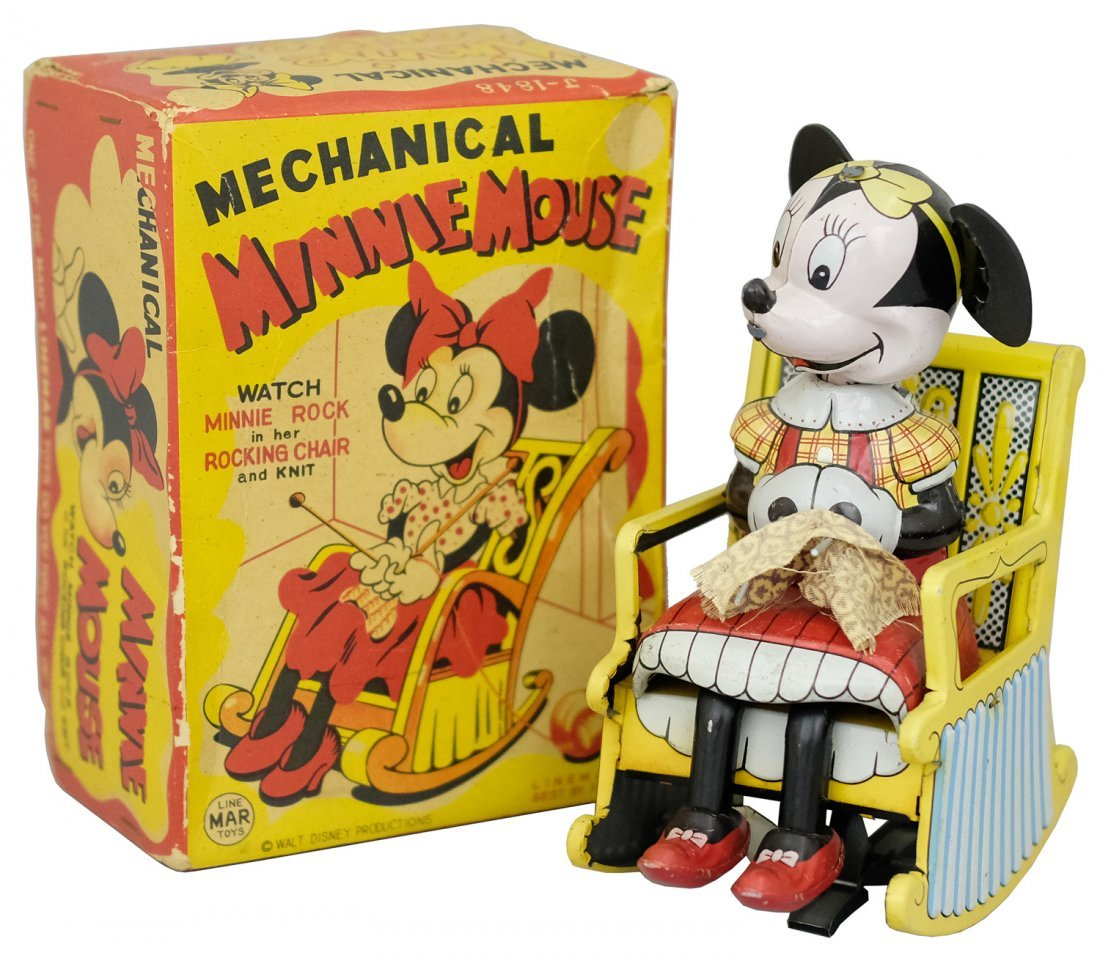"""""""Mechanical Minnie Mouse Knitting in her Rocking Chair"""""""