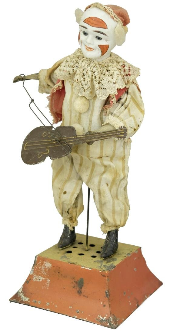 Large Clown Instrumentalist Figure with a Bisque Head - 2