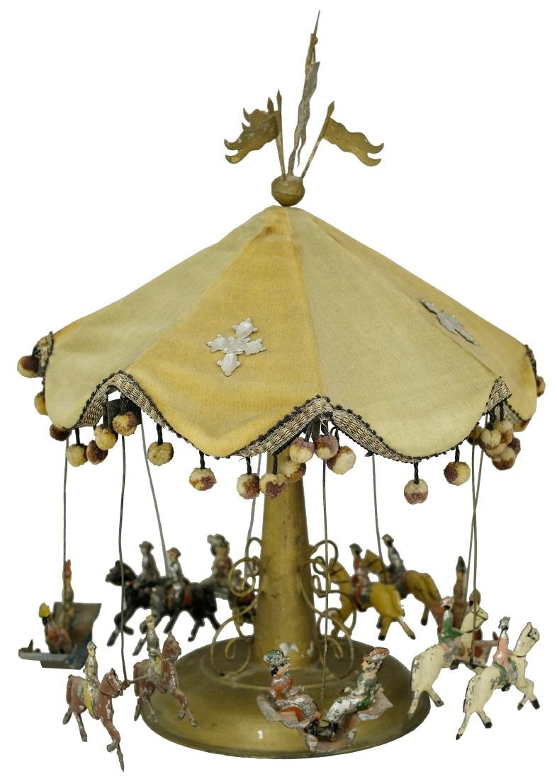Early Painted Tinplate Carousel with Velvet Canopy and