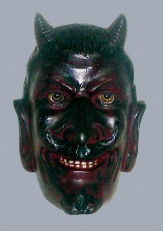 3: 2 FACED DEVIL CAST IRON STILL BANK - A.C. WILLIAMS