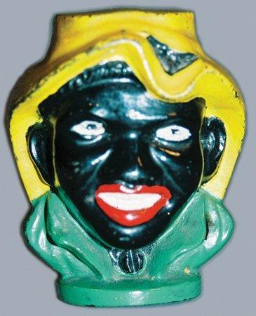 9: 2-FACED BLACK BOY CAST IRON STILL BANK  A.C. WILLIAM