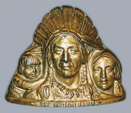 17: INDIAN FAMILY CAST IRON STILL BANK - J. Harper