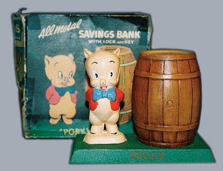 19: PORKY PIG AT BARREL STILL BANK - WHITE METAL