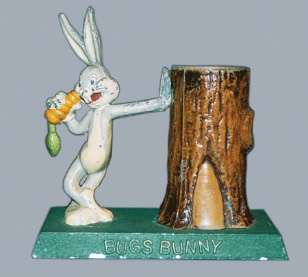 20: BUGS BUNNY AT TREE TRUNK - WHITE METAL STILL BANK