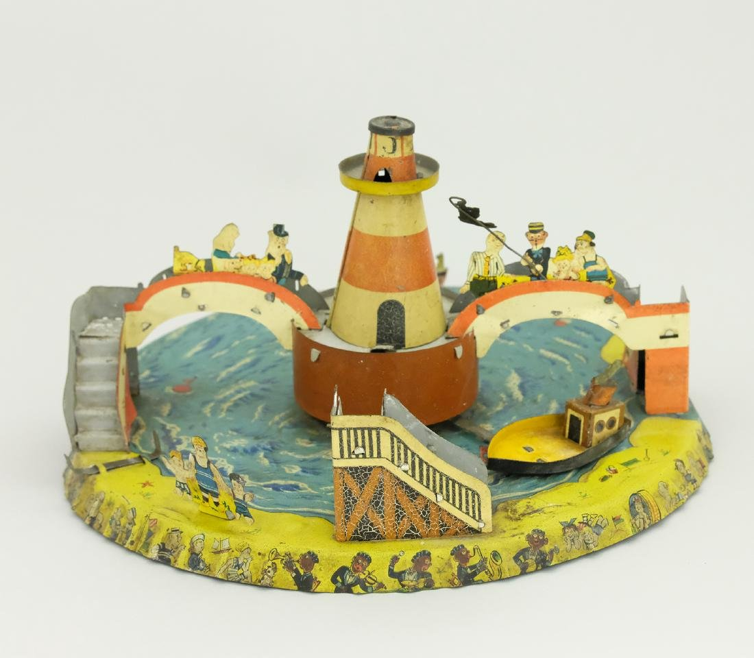 Unusual Novelty Toy with Cargo Boat, Bridges & Beach