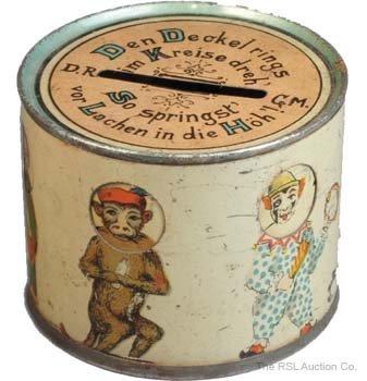 18: KREISEDREH DRUM SHAPE GERMAN TIN BANK