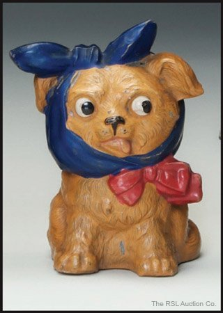 12: GERMAN SPELTER BANK Puppy with Toothache