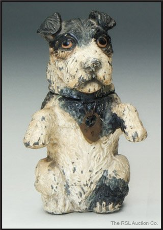 13: GERMAN SPELTER BANK Wire Haired Terrier Bank