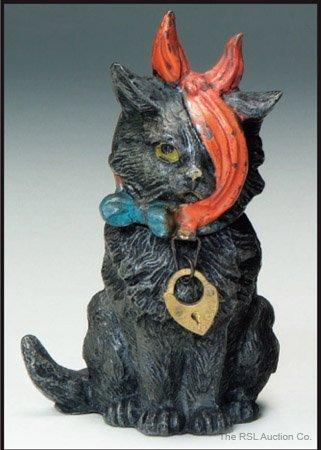 16: GERMAN SPELTER BANK Black Cat with Bandage
