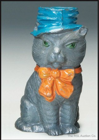 17: GERMAN SPELTER BANK Gray Cat with Blue Hat