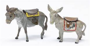 Two Spelter Donkey Still Banks