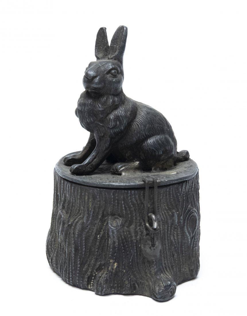 Spelter Rabbit on Stump Still Bank