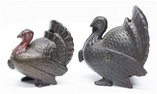 Large and Small Turkey Cast Iron Still Banks