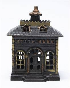 State Bank Straight Letters Cast Iron Bank