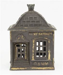 Home Savings with Finial Cast Iron Bank