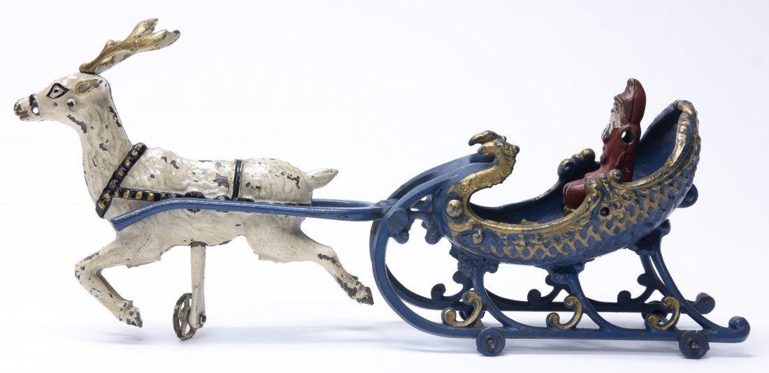 Santa Sleigh with Single Reindeer Iron Toy