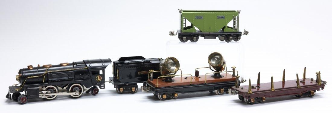 Lionel Engine, Tender, Lumber Car, Coal Car & Spotlight