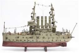 Grey White Fleet Battleship Model