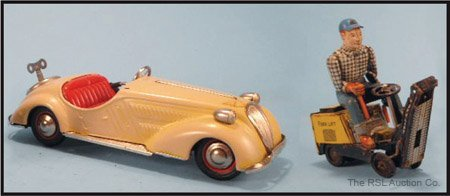 5: US ZONE JAGUAR TIN CAR & JAPANESE FORKLIFT