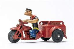 Popeye Spinach Motorcycle - Hubley Iron Toy
