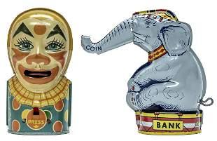 Trick Elephant Tin Bank & White Clown Bank