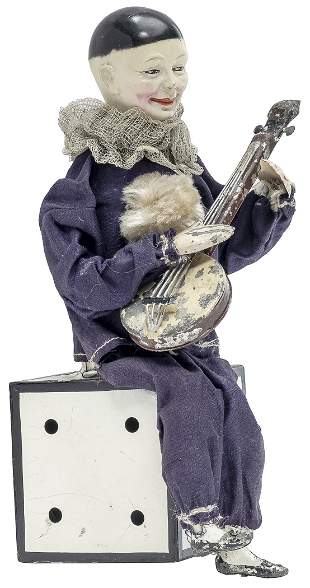 Harlequin Playing Banjo Seated on a Dice Cube