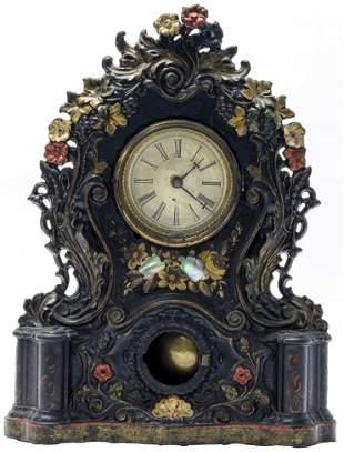 Cast Iron Mantle Clock Floral & Foliate Design