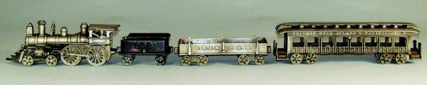43: Dent Nickel Plated Floor Train - Cast Iron