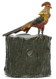 Golden Pheasant on Tree Stump Spelter Bank