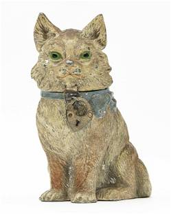 Seated Cat with Bow Spelter Bank