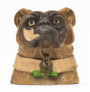 Bulldog Bust with Pipe Spelter Bank