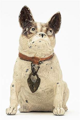 French Bulldog Seated Spelter Bank