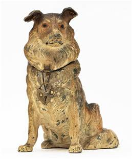 Seated Collie Spelter Bank