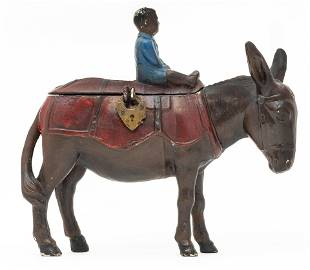 Mule with Pack and Child Spelter Bank