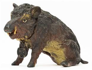 Wild Boar Seated Spelter Bank