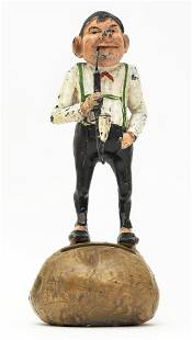 Young Man with Pipe Standing on a Potato Bank
