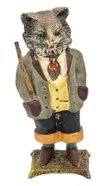 Dapper Cat with Staff Spelter Bank