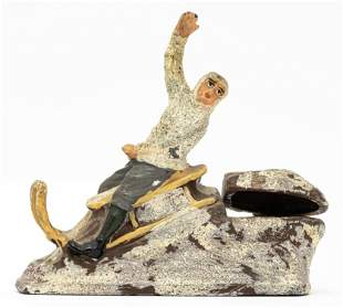 Boy Riding Sled Inkwell