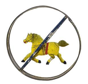Rare & Important Hoop with a Gold Stained Flat Horse
