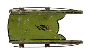 Small Painted Tin Toy Sled