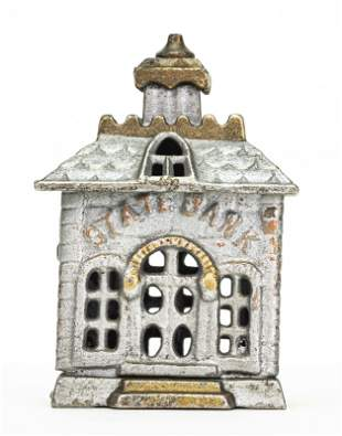 Small Painted State Iron Bank
