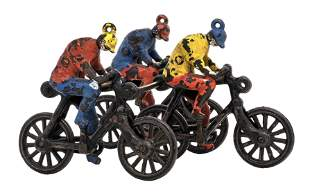 Three Bicyclists Riding Abreast Iron Toy