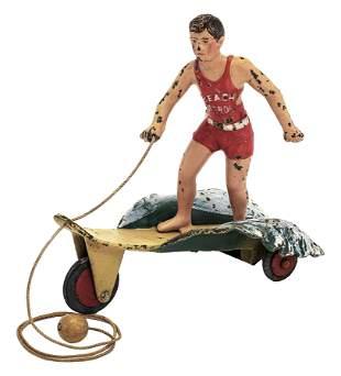 Hubley Beach Patrol Surfer Iron Toy