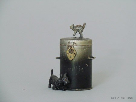 5: Dog & Cat atop a Dustbin German Spelter Still Bank