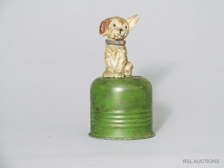 6: Bonzo on CylinderGerman Spelter Still Bank