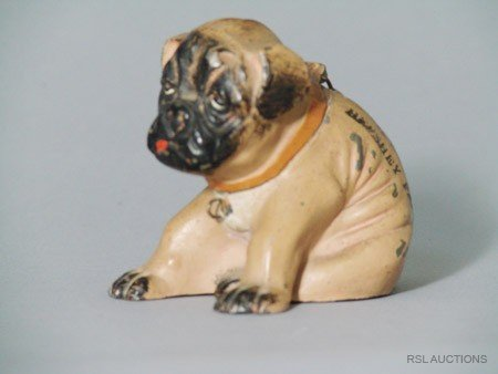7: Seated Pug German Spelter Still Bank