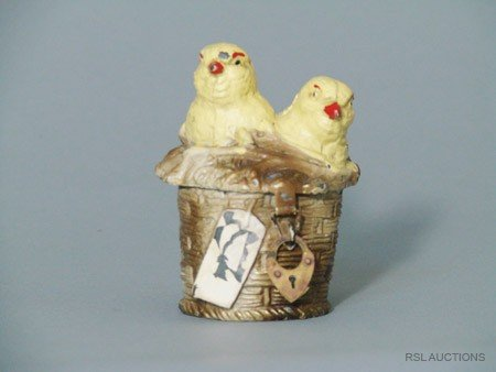 9: Chicks in a Basket German Spelter Still Bank