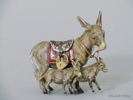 13: Donkey and Her Babies German Spelter Still Bank
